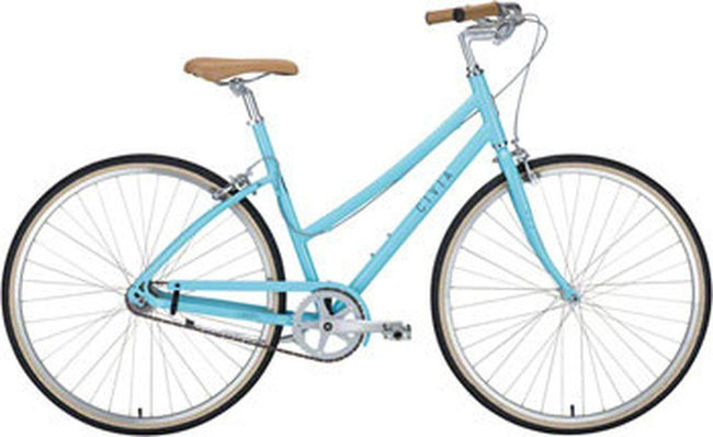 Civia Lowry Step Thru Single-Speed Bike: Light Blue/Gray MD-Voltaire Cycles