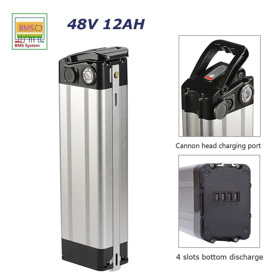 E-Bike Battery - 48v 12ah Lithium-Ion Silverfish Case-Voltaire Cycles