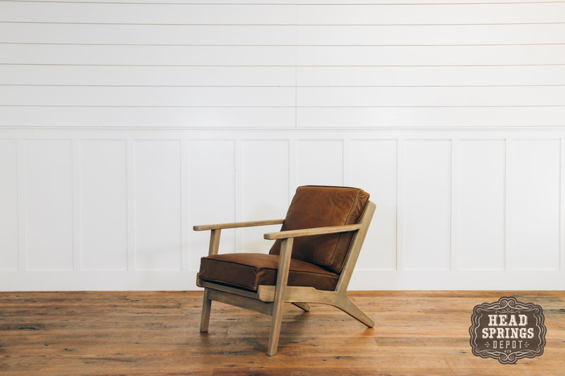 The Brooks Danish Chair in LFG Mango with Marcato Symbol Leather