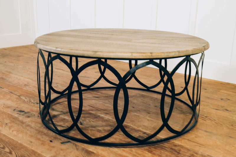 Circle Coffee Table Salvage Grey and Black