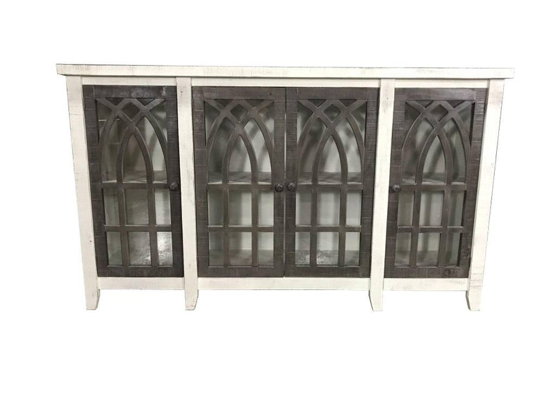 Farmhouse Cathedral 4 Door Console with Glass Wood Knobs Nero White with Ashe Doors JON-CATH-C4DR