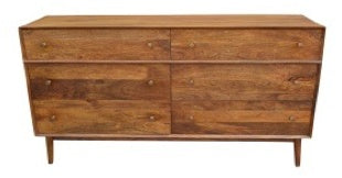 Mid Century 6 Drawer Dresser Mango Strip Pine