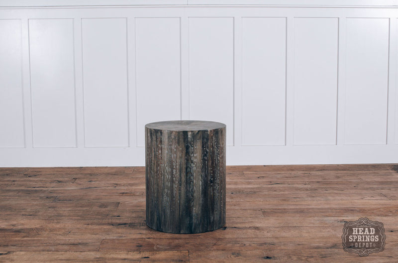 Drum End Table Salvage Grey