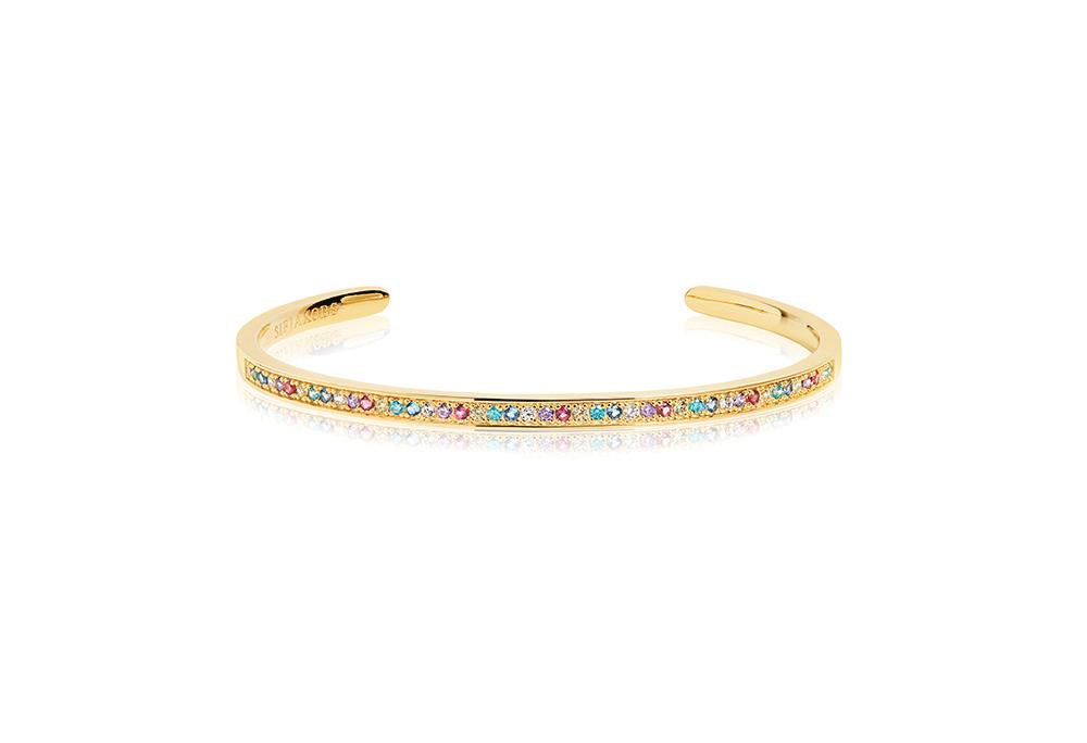 Bangle Valiano - 18K Gold Plated With Multicoloured Zirconia