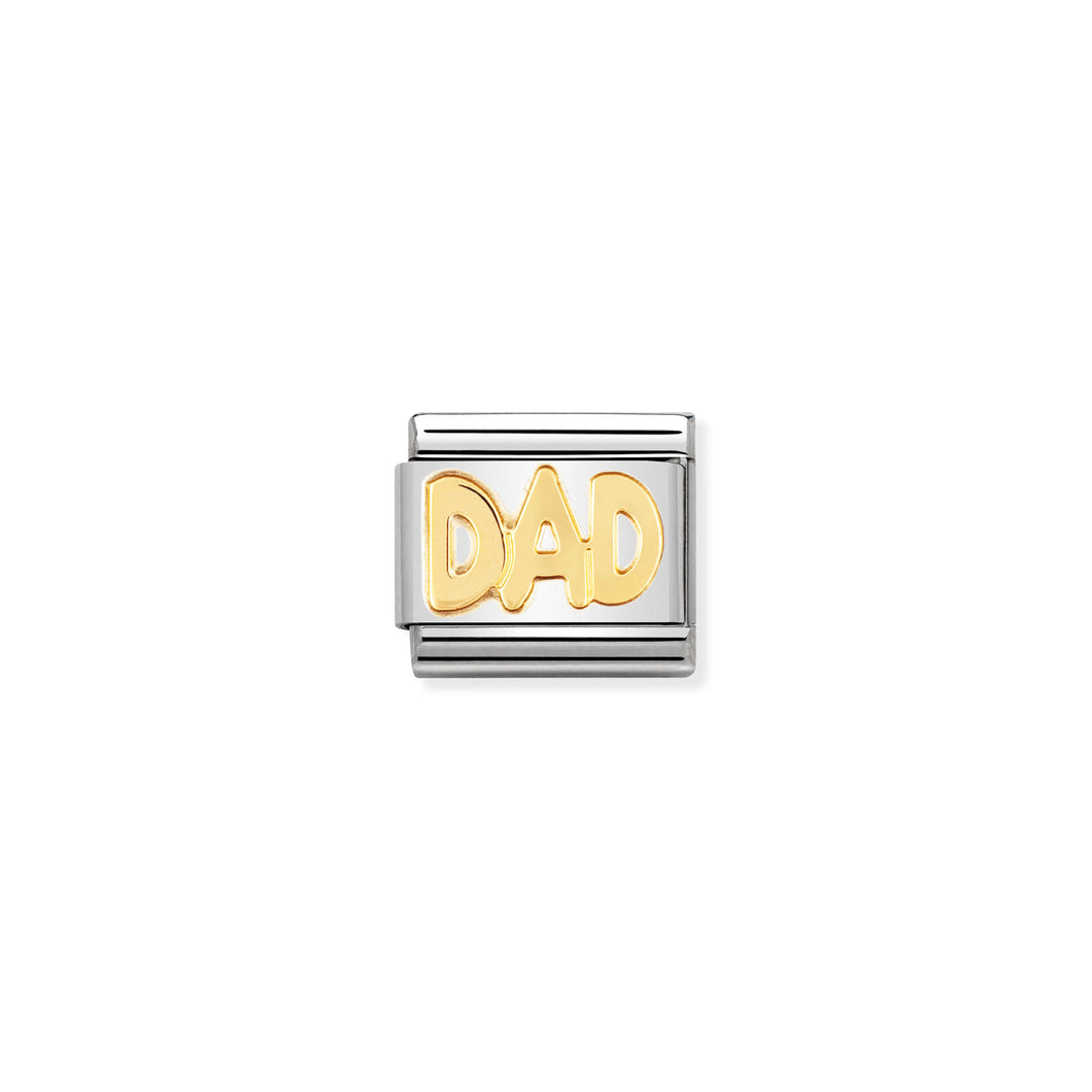 Composable Classic Link Dad In Writing In 18k Gold