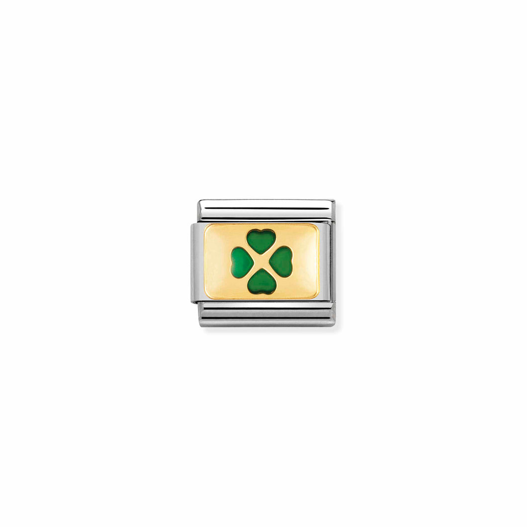 Composable Classic Link Green Four Leaf Clover In Gold