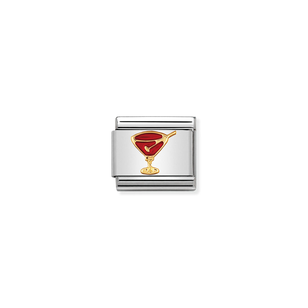Composable Classic Link With Enamel Red Cocktail Glass