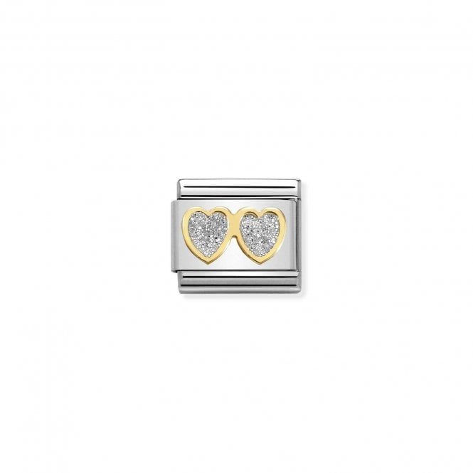 Composable Classic Link Gold And Enamel Silver Glitter Hearts