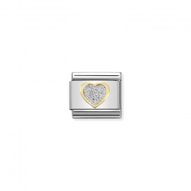 Composable Classic Link Gold And Enamel Silver Glitter Heart
