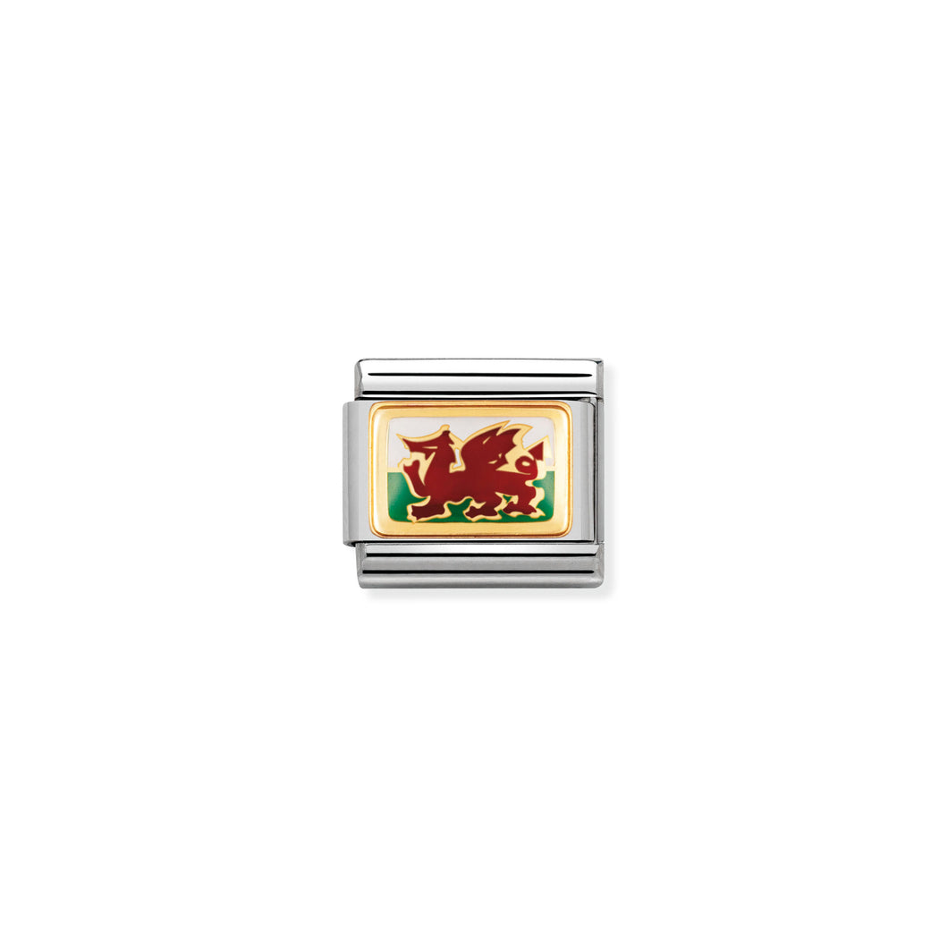 Composable Classic Link In Gold With Enamel Wales Flag
