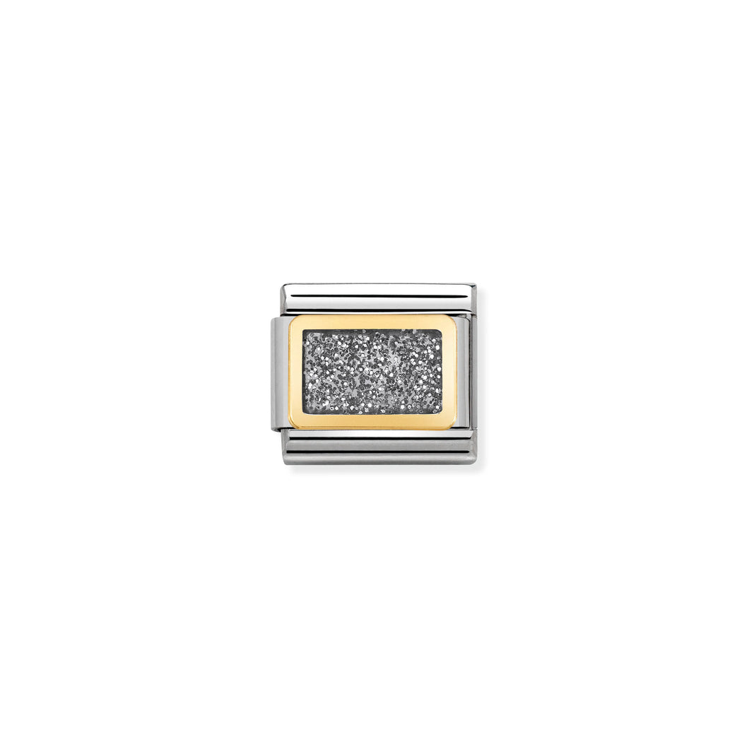 Composable Classic Link Silver Glitter Square