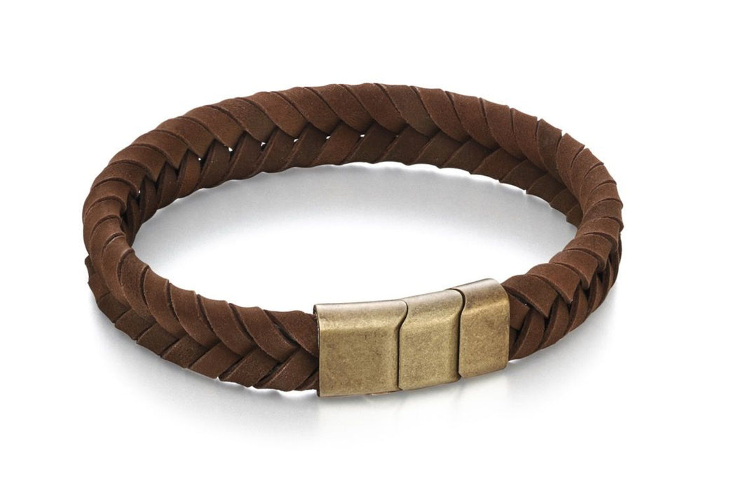 Plaited Brown Leather Bracelet