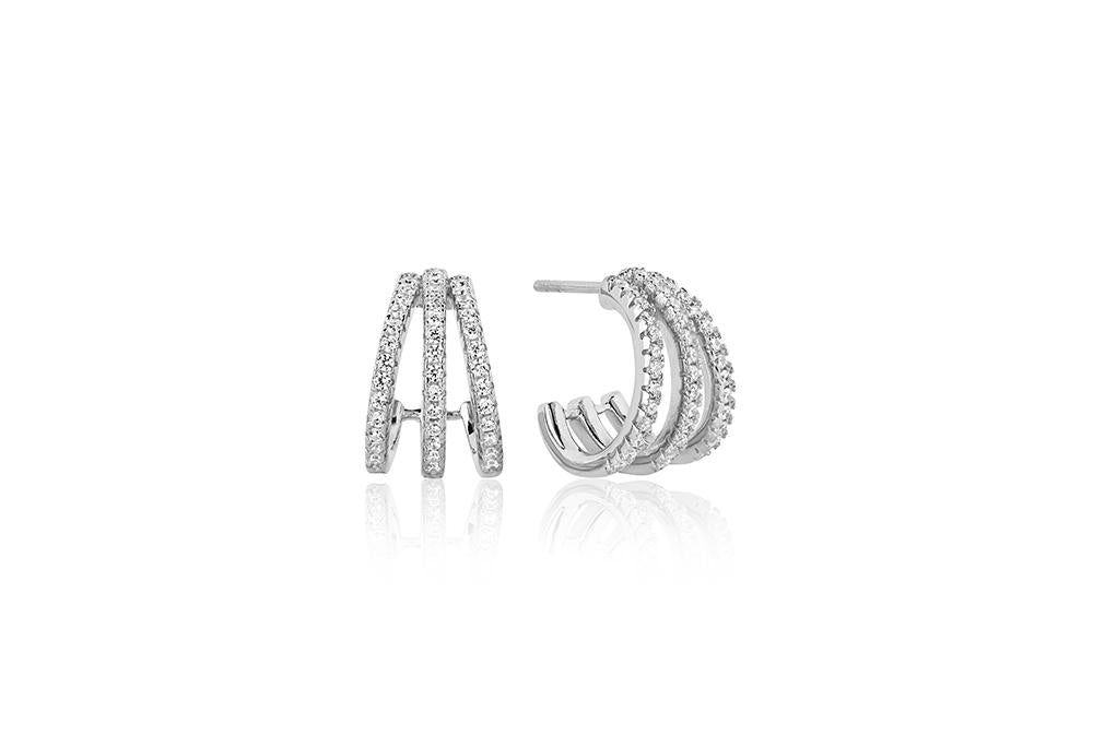Earrings Ozieri Tre Piccolo With White Zirconia