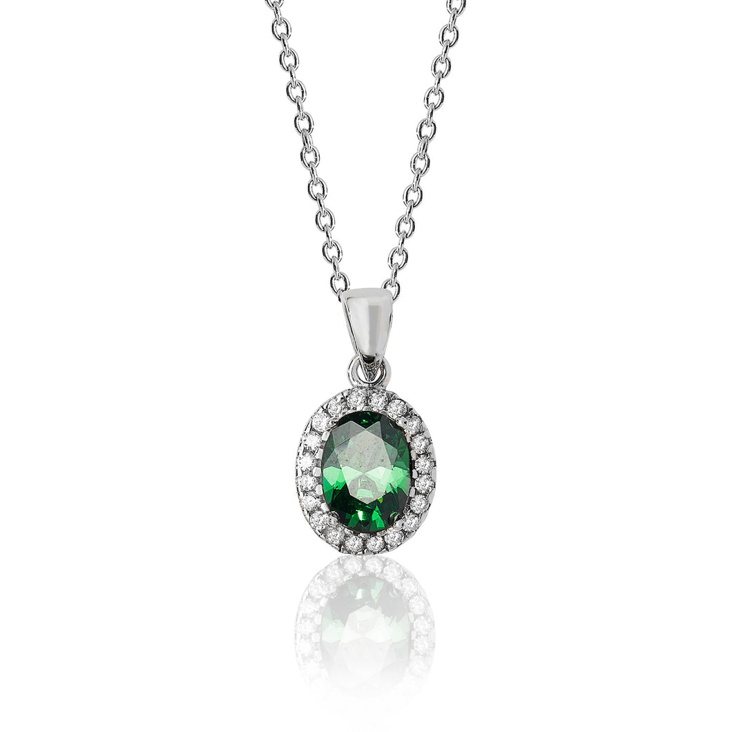 Silver Green And White Oval Cluster CZ Pendant And Chain