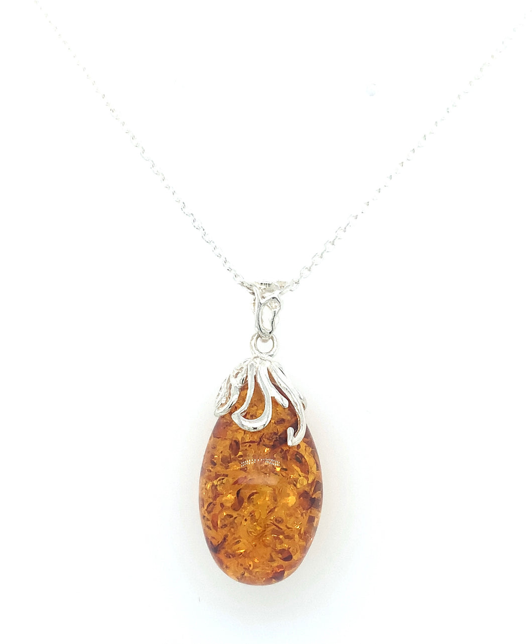 Sterling Silver And Amber Droplet Pendant