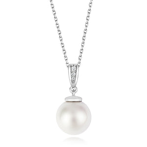 Classic 10mm Pearl Pendant With Stone Set Bale On Running Chain