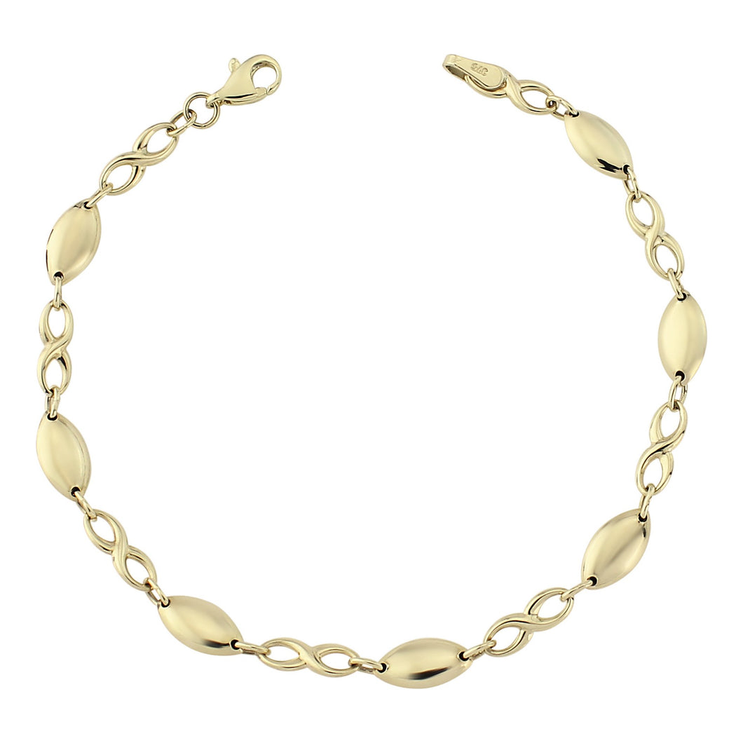 Yellow Gold Lozenge And Inifinity Link Bracelet