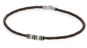 Stainless Steel Brown Leather Bead 51cm Necklace