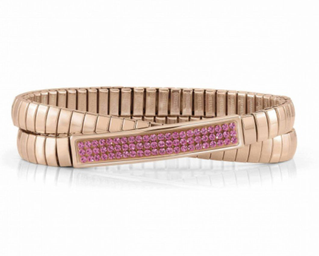 Glitter Stretch Double Bracelet In Rose Gold With Pink Swarovski Crystals
