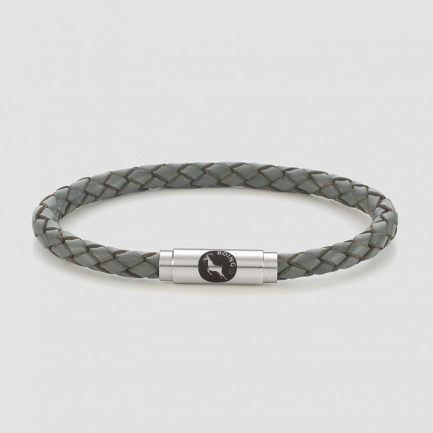 Grey Skinny Leather Bracelet