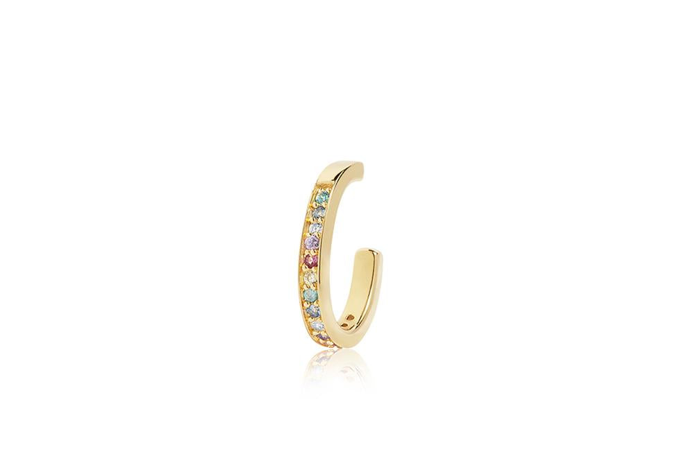 Ear Cuff Sumeri - 18K Gold Plated With Multicoloured Zirconia