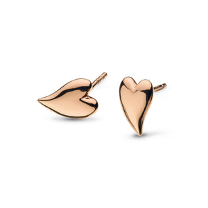 Desire Kiss Mini Heart 18ct Rose Gold Plate Stud Earrings