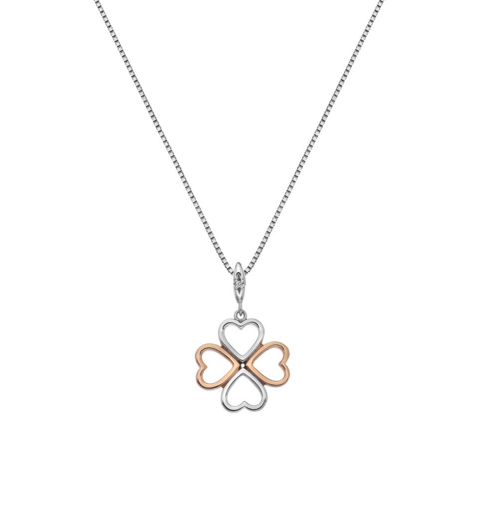 Lucky In Love Pendant - Rose Gold Plate Accents