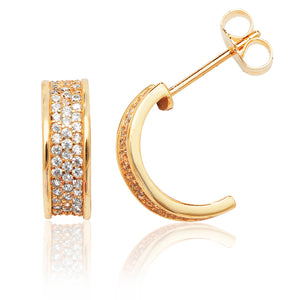 Silver Yellow Gold Plated Three Row Pavé Half Hoop CZ