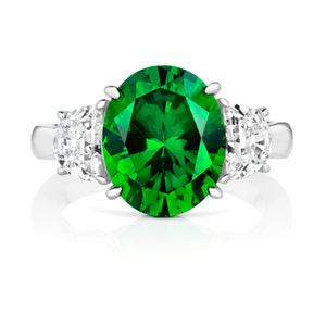 Three Stone Ring Green Oval Cubic Zirconia Centre Stone