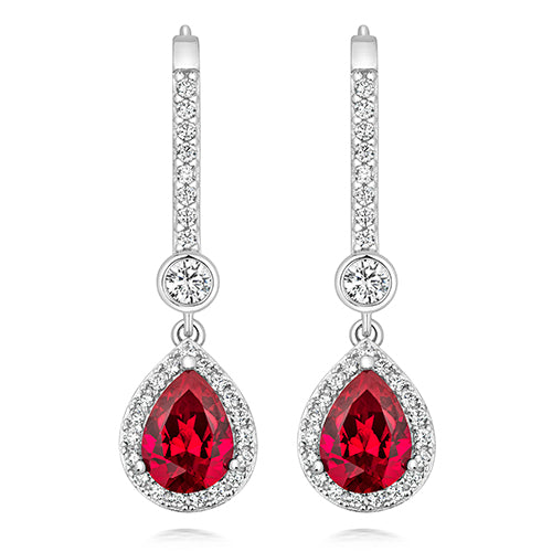 Halo Style Drop Earrings 8x6mm Red Pear Cut And 3mm Round Rub Over