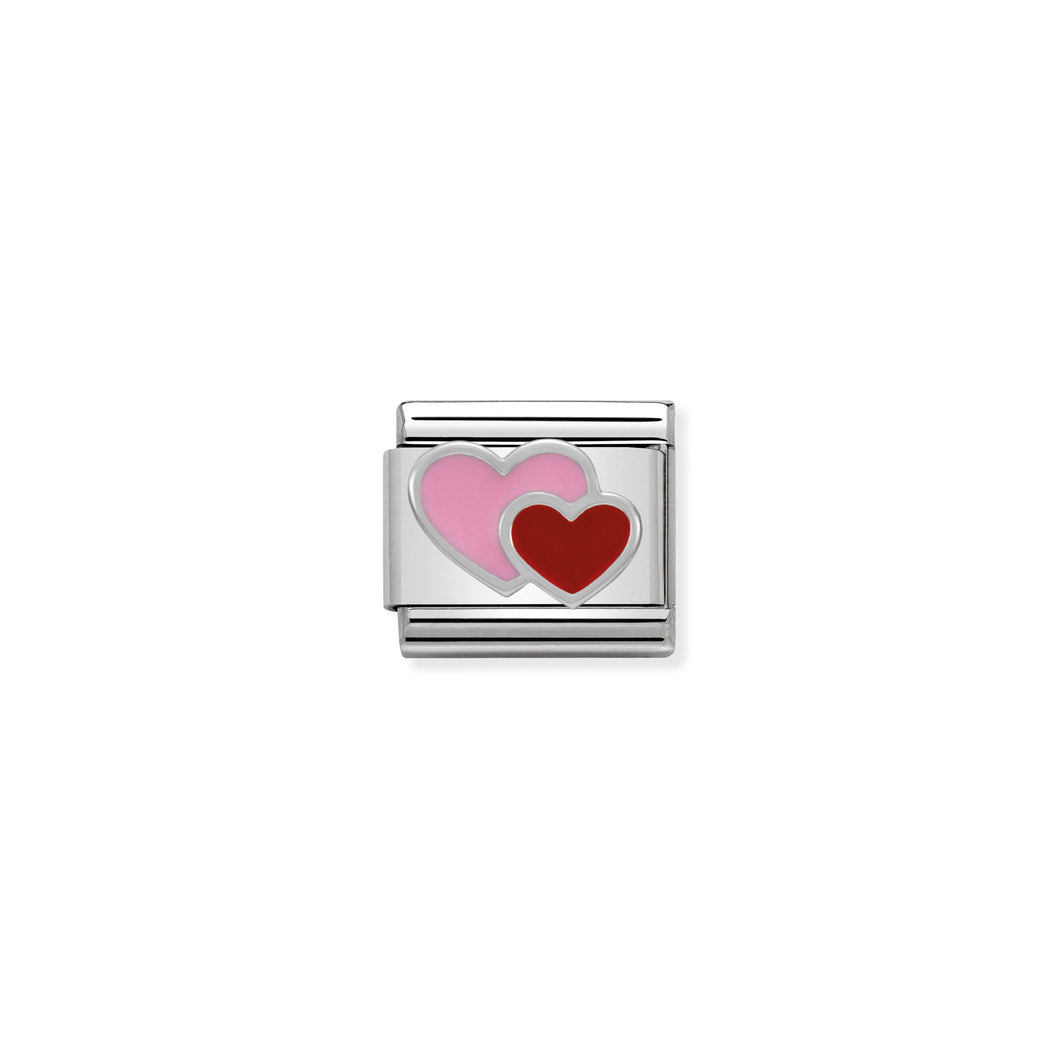 Composable Classic Link Pink And Red Double Heart In Silver And Enamel