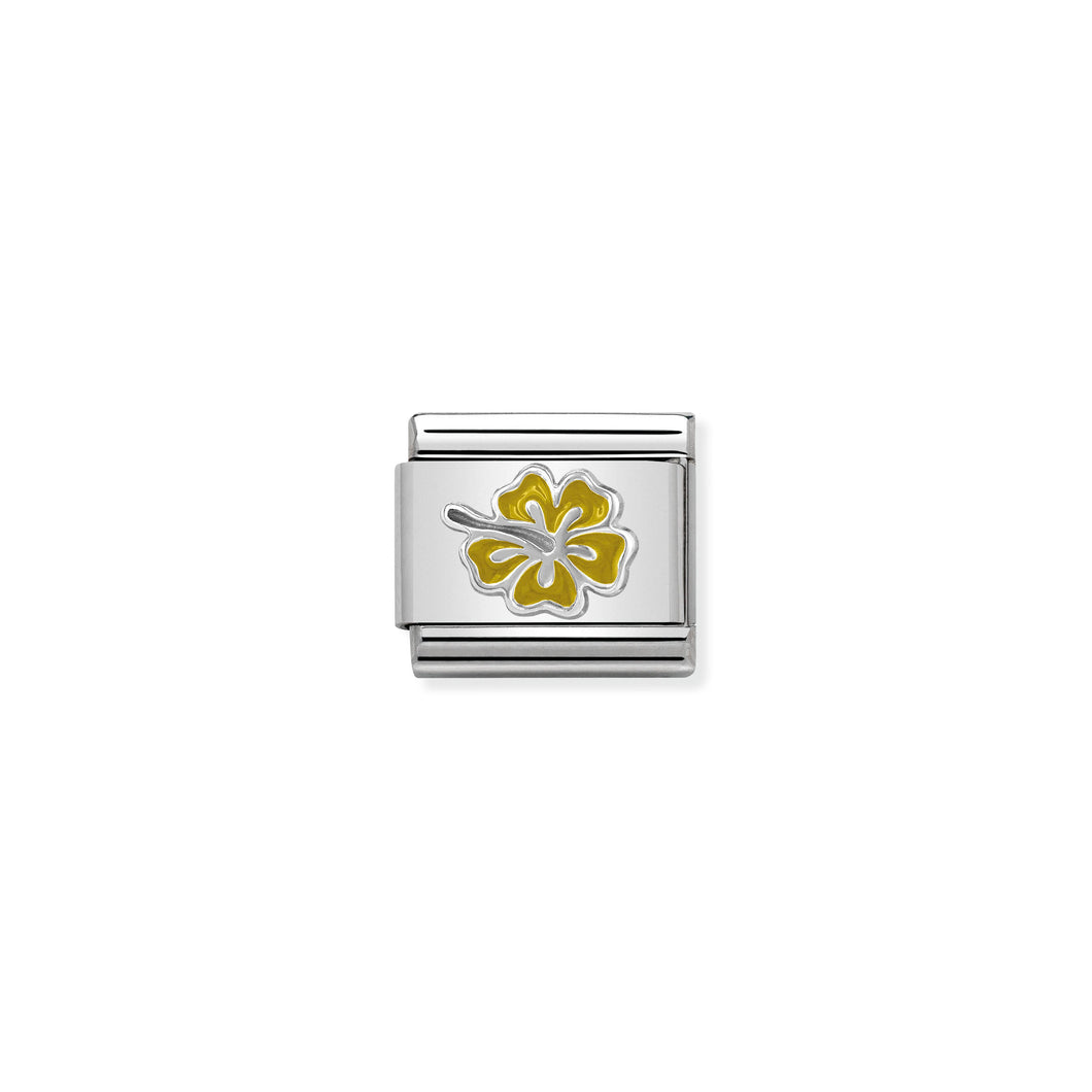 Composable Classic Link Hibiscus Yellow In Silver And Enamel