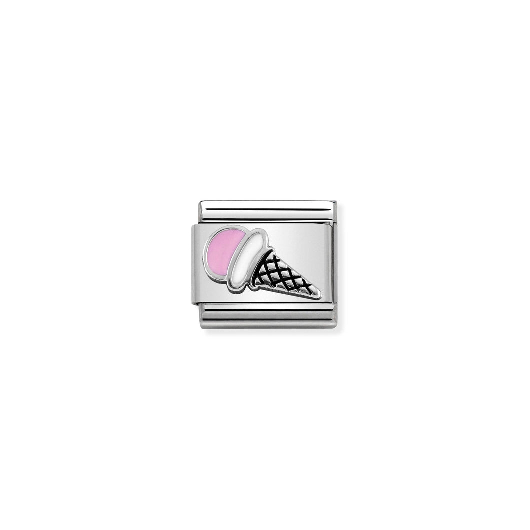 Composable Classic Link Pink Ice Cream In Silver And Enamel