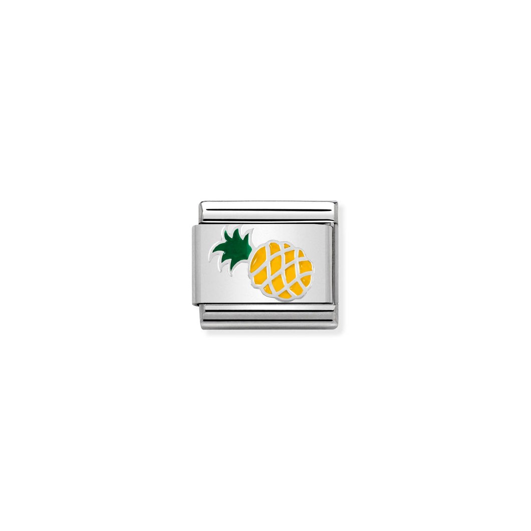 Composable Classic Link Pineapple In Silver And Enamel