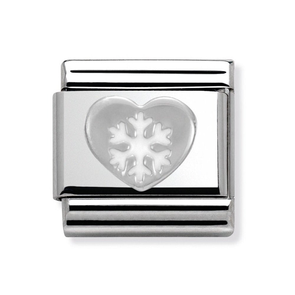 Composable Classic Link Heart With Snowflake In Silver And Enamel
