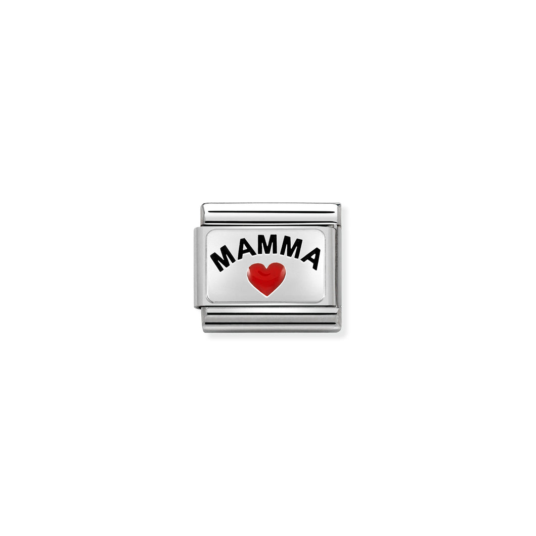 Composable Classic Link Mamma With Heart In Silver And Enamel