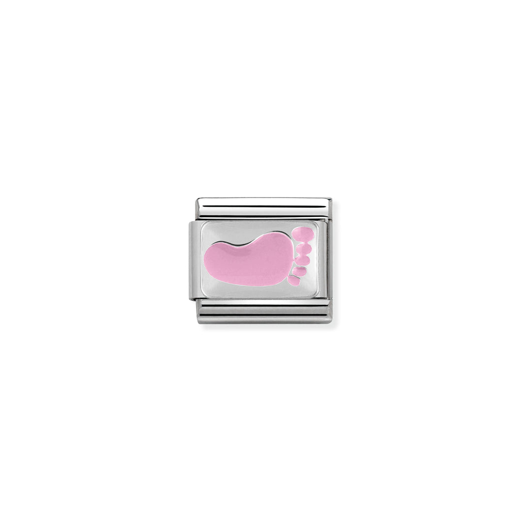 Composable Classic Link Pink Foot In Silver And Enamel