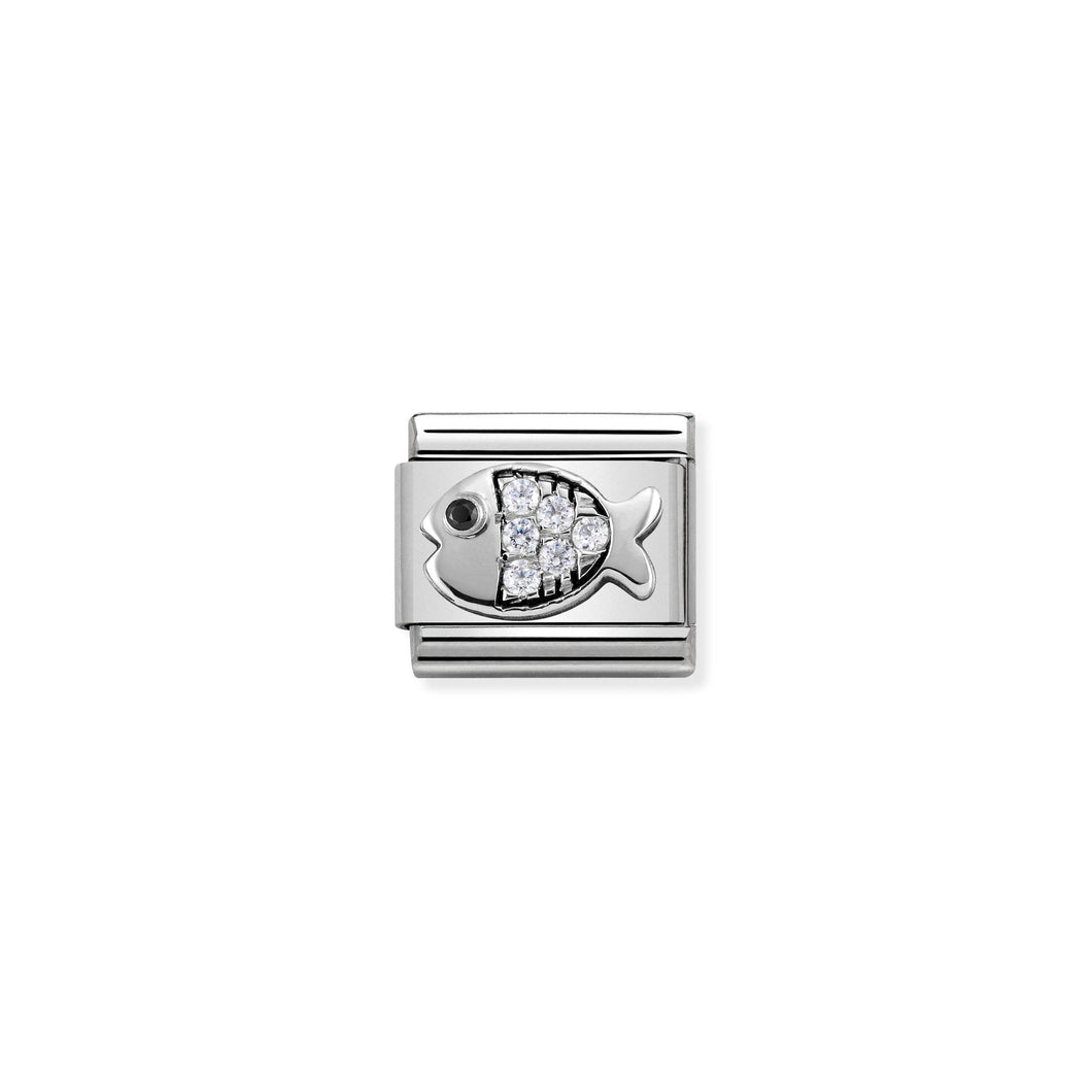 Composable Classic Link Fish In Silver And Stones