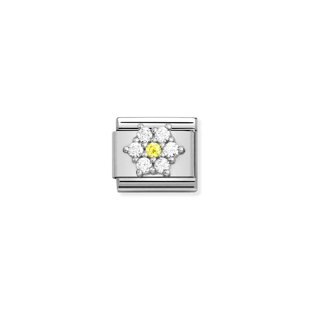 Composable Classic Link Flower In Silver With Clear And Yellow Stones