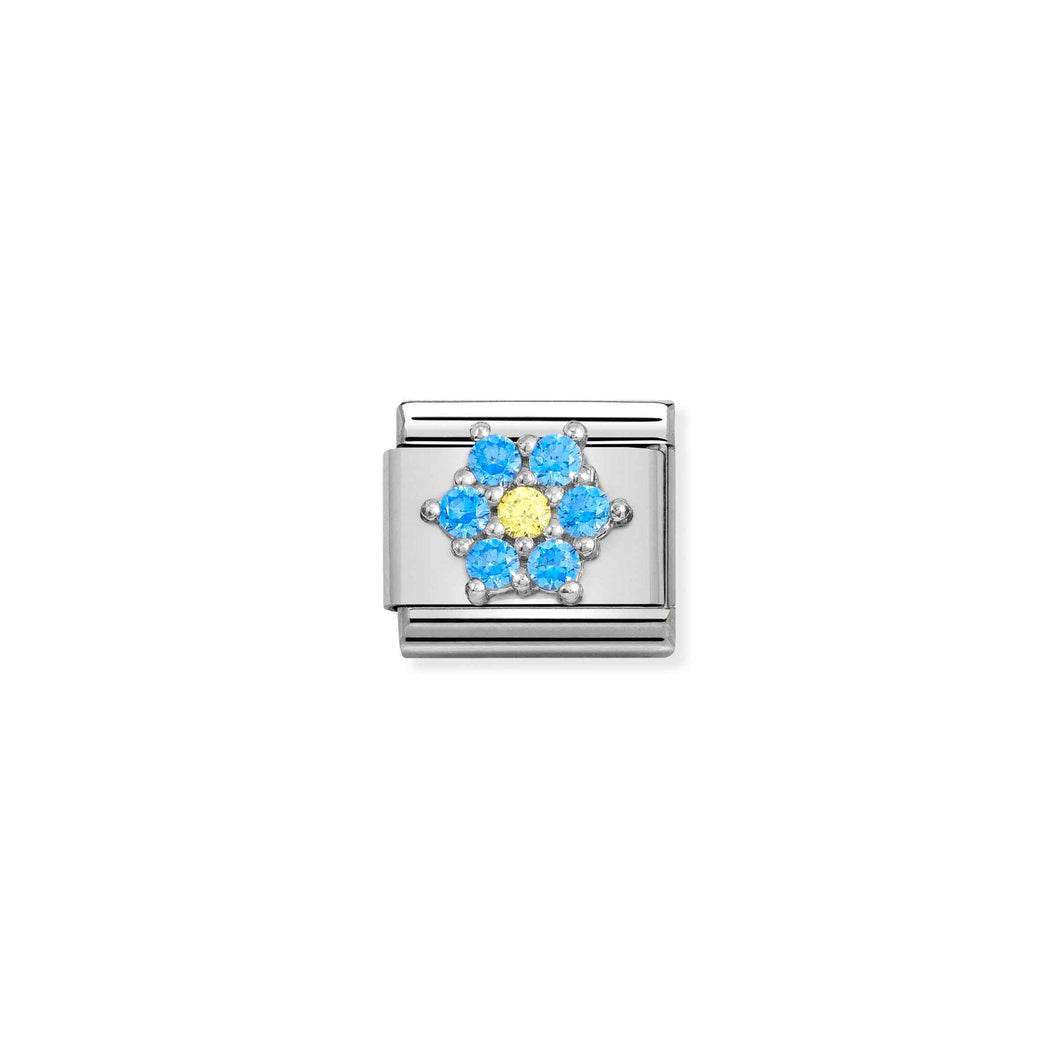 Composable Classic Link Flower In Silver With Light Blue And Yellow Stones