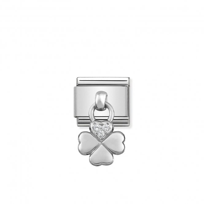 Composable Classic Link Silver Pendant Four Leaf Clover Symbol With Stones