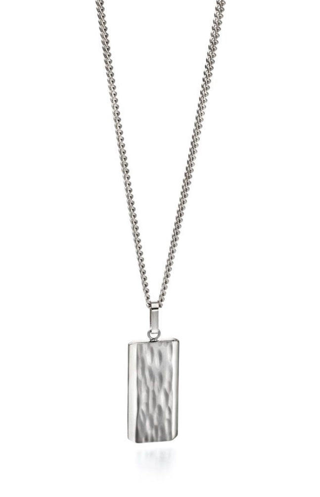Textured Centre And Bevelled Polished Edge Dog Tag Necklace