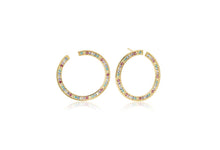 Load image into Gallery viewer, Earrings Valiano Circolo Grande - 18K Gold Plated With Multicoloured Zirconia