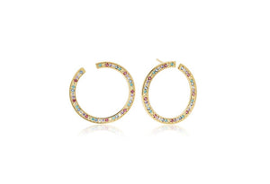Earrings Valiano Circolo Grande - 18K Gold Plated With Multicoloured Zirconia