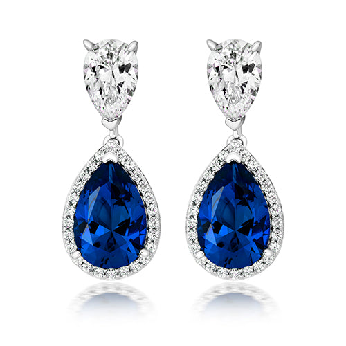Double Drop Halo Style Earrings With Cubic Zirconia