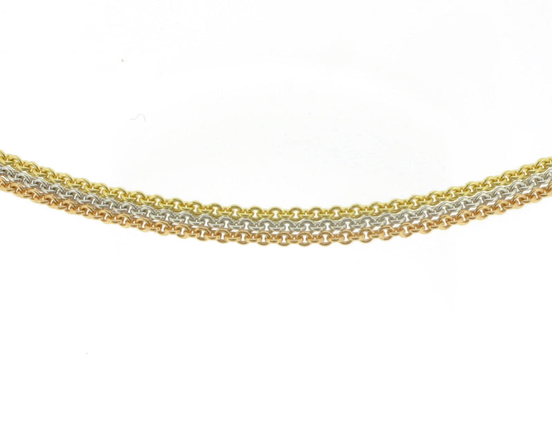 18ct Three Colour Gold Trace Chain Necklace