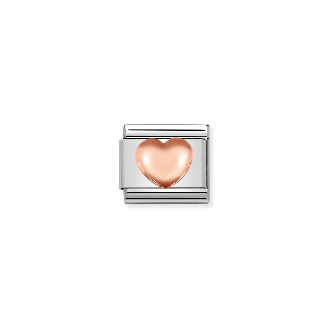 Composable Classic Link Rose Gold Raised Heart