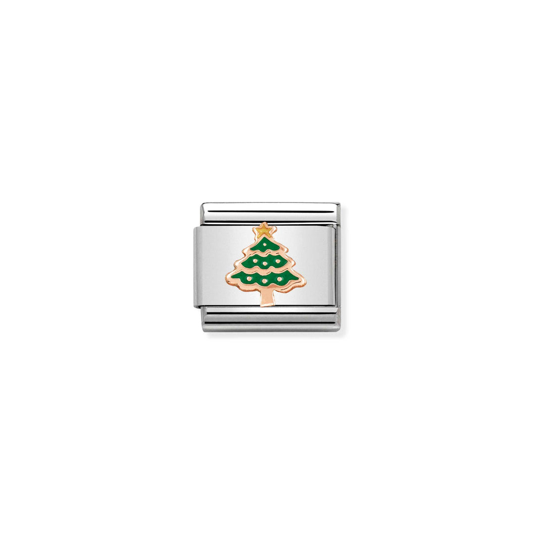 Composable Classic Link Rose Gold Christmas Tree With Enamel