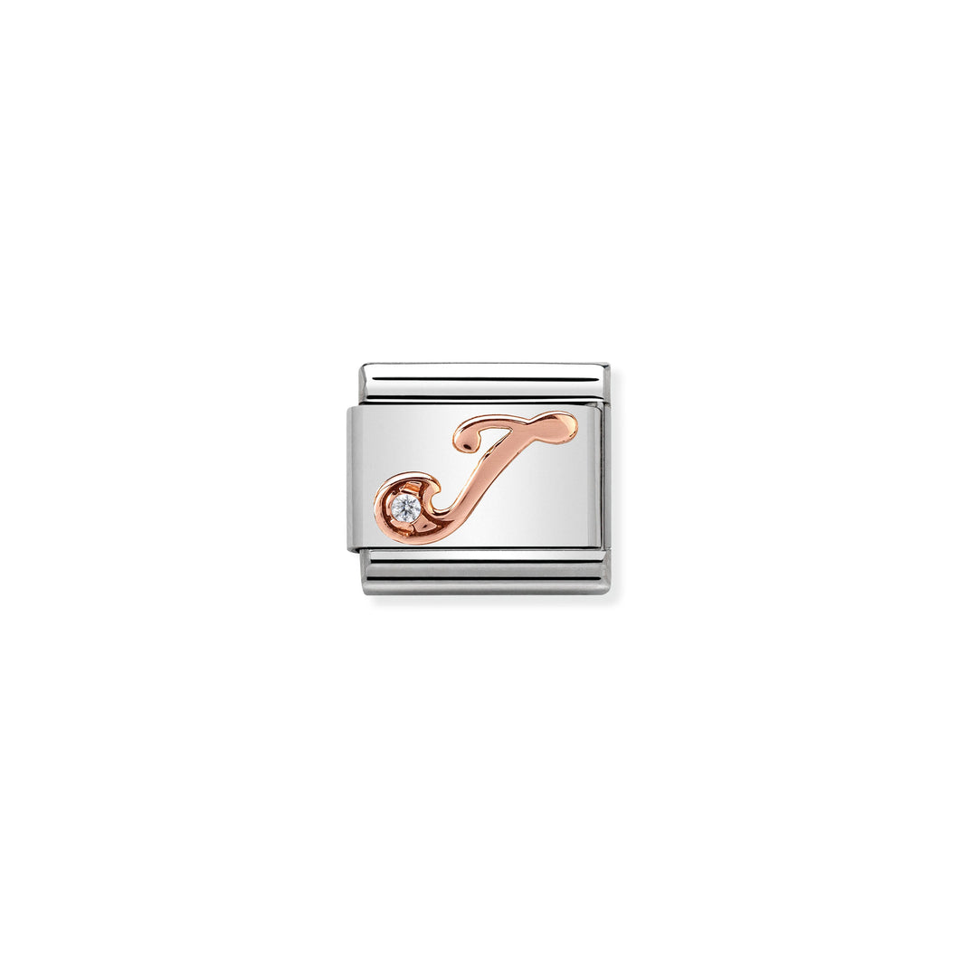 Composable Classic Link Rose Gold Letter J With Stone