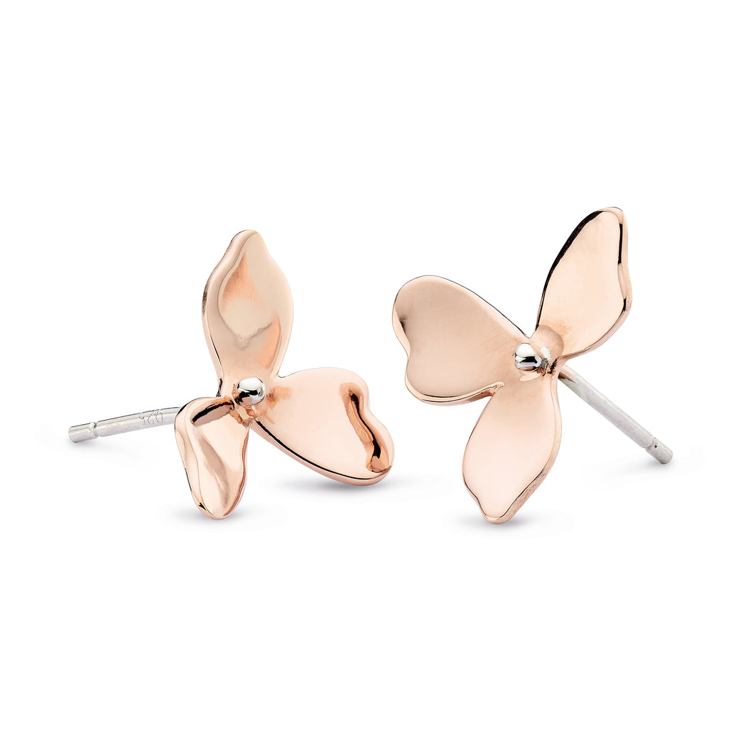 Blossom Petal Bloom Rose Gold Plate Stud Earrings